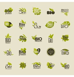 Bio product Set of labels and emblems vector