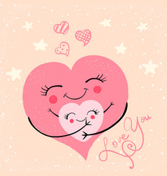 cartoon funny cute hugs vector image