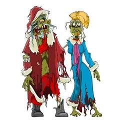 cartoon zombie Santa Claus and Snow Maiden zombies vector image