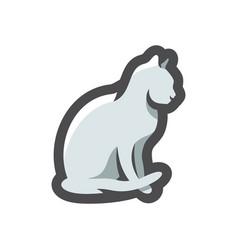 cat silhouette grey icon cartoon vector image