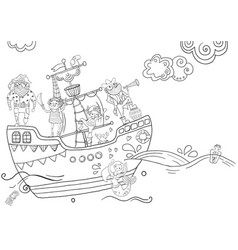 childrens coloring - pirates different vector image