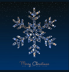 christmas and new year luxury snowflake card vector image