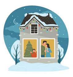 christmas family holidays celebration at home vector image