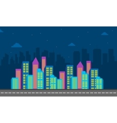 City cuilding color at night of silhouette vector image