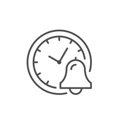 clock and bell line outline icon vector image