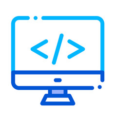 coding computer monitor thin line icon vector image