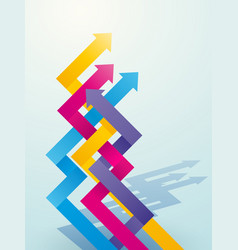 color intersecting arrow pointing upwards vector image