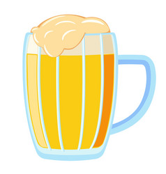 Colorful cartoon light beer mug vector