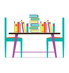 Colorful Chairs And Books On Table vector image