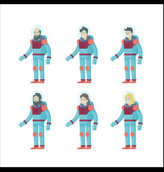 colorful flat astronauts set vector image