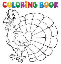 coloring book turkey bird theme 1 vector image