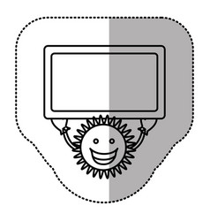 Contour sticker happy sun with blue board in the vector
