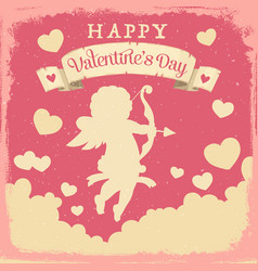 Cupid with hearts and love arrows valentines day vector