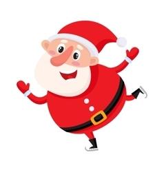Cute and funny Santa Claus ice skating vector image
