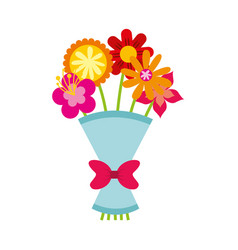 Cute bouquet of flowers nature icon vector