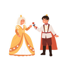 Cute boy in prince costume giving rose to girl in vector