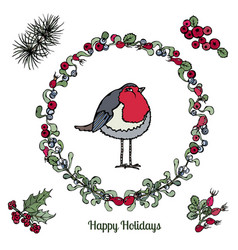 cute cartoon bird red robin in floral wreath with vector image