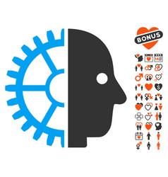 Cyborg head icon with lovely bonus vector
