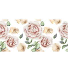 delicate pink roses watercolor background vector image