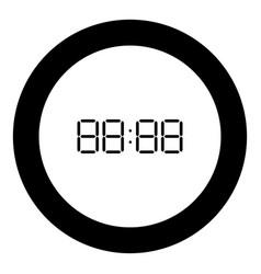 Digital clock face icon black color in round vector
