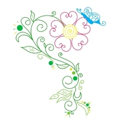 Doodle color abstract daisy and butterfly vector