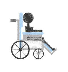 drawing patient wheelchair medical equipment vector image