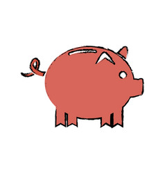 Drawing piggy banking concept safety money vector