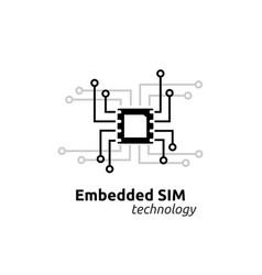Esim embedded sim card network icon symbol vector