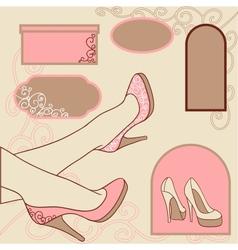 Fashion background with feminine shoe vector image