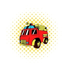 Fire truck icon comics style vector image
