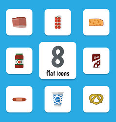 Flat icon food set of ketchup kielbasa cookie vector