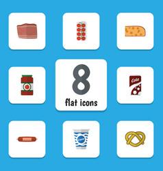 flat icon food set of ketchup kielbasa cookie vector image
