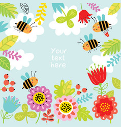 Floral background with cute bees vector