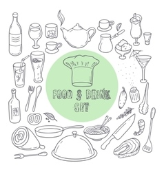 Food and drink outline doodle icons Set of hand vector image