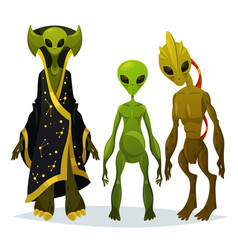 Funny cartoon aliens or extraterrestrial invaders vector