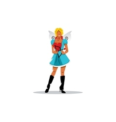 Funny cupid girl sign vector image vector image