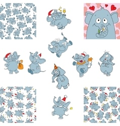 Funny elephants and seamless backgrounds vector