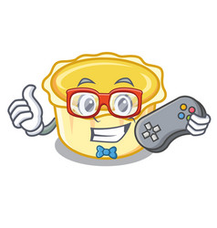 Gamer egg tart mascot cartoon vector
