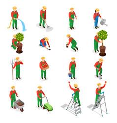 Gardener characters icon set vector