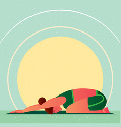 Girl in yoga childs resting pose or balasana vector