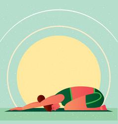 girl in yoga childs resting pose or balasana vector image