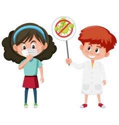 girl wearing mask and doctor holding stop vector image