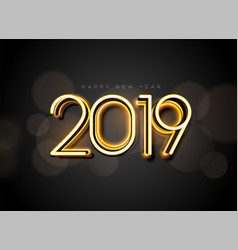 Glowing 2019 new year background design vector