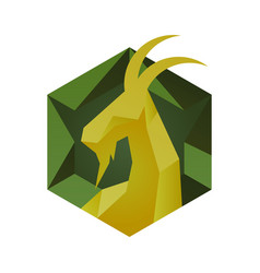 goat icon in cube style hexagon emblem vector image