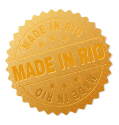 golden made in rio badge stamp vector image