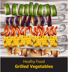 Grilled vegetables vegan kebabs healthy vector