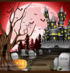 halloween background with castle and graveyard vector image