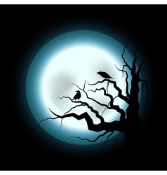 Halloween with Raven and Full Moon vector image