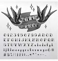 hand written old school font vector image