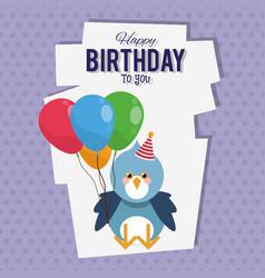 Happy birthday bird cartoon card vector